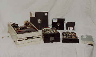 A range of floppy drives and disks up to the present.